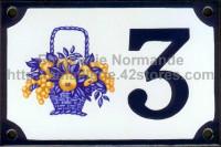 Numéro de rue décoré émaillé : Panier bleu