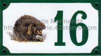 Numéro de rue décoré émaillé : Hérisson