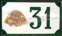 Numéro de rue décoré émaillé : Hérissons