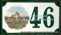 Numéro de rue décoré émaillé : Polo