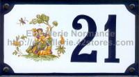 Numéro de rue décoré émaillé : Moustiers femme