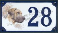 Numéro de rue décoré émaillé : décor chien
