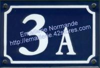 Numéro de rue émaillé 10x15cm A, B... (nouvelle écriture)