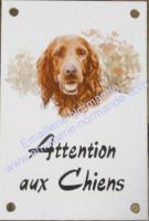 Plaque émaillée 15x10cm verticale : Attention aux chiens + décor au choix parmi la liste