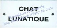 Plaque émaillée (6x12cm) chat lunatique