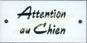 7-1. Plaque émaillée (6x12cm) Attention au chien