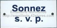 Plaque émaillée (6x12cm) sonnez svp