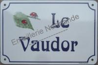 Plaque de villa émaillée (20x30cm) alphabet AR, horizontal.