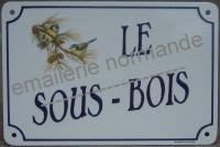 Plaque de villa émaillée (20x30cm) alphabet HB, en biais.