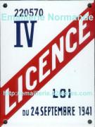 Plaque émaillée (15x20cm) Licence I à IV (déco privée)