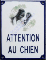 plaque emaillee attention au chien decoree 20x15cm
