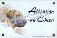 Plaque émaillée (10x15cm) Dogue allemand naturel