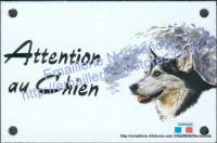 Plaque émaillée (10x15cm) Husky