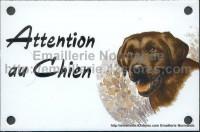 Plaque émaillée (10x15cm) Labrador chocolat