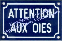 Plaque humoristique (10x15cm) attention aux oies