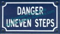 Plaque émaillée (10x18cm) Danger uneven steps