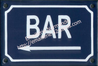 Plaque émaillée (10x15cm) Bar <-
