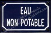 12- Plaque émaillée (10x15cm) Eau non potable