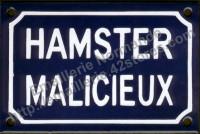 9- Plaque émaillée (10x15cm) hamster malicieux