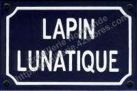 Plaque émaillée (10x15cm) lapin lunatique