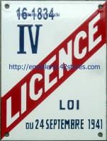 Plaque Licence I à IV émaillée (15x20cm) professionelle