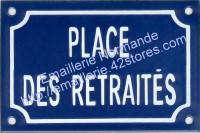 Plaque émaillée (10x15cm) Place des retraités