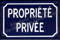 Plaque émaillée (10x15cm) propriété privée
