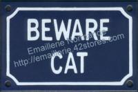 Plaque émaillée (10x15cm) Beware cat