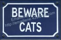 Plaque émaillée (10x15cm) Beware cats