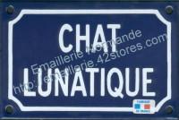 Plaque émaillée (10x15cm) chat lunatique