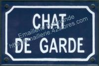 Plaque émaillée (10x15cm) chat de garde