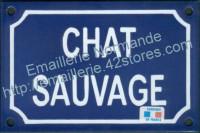 Plaque émaillée (10x15cm) chat sauvage
