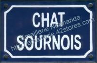 Plaque émaillée (10x15cm) chat sournois