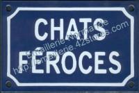 Plaque émaillée (10x15cm) chats féroces