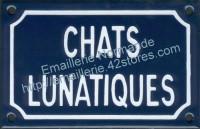 Plaque émaillée (10x15cm) chats lunatiques