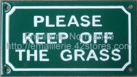 Plaque émaillée (10x18cm) Please keep off the grass