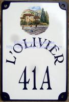 Plaque de villa émaillée 20x30cm décor Provence écriture HB