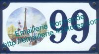 Numéro de rue décoré émaillé : Tour Eiffel