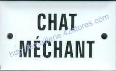 Plaque émaillée (6x10cm) Chat méchant